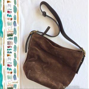Vintage Coach Brown Suede Shoulder Bag